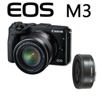 Canon EOS M III + 15-45  + 22mm 雙鏡組  M3 風景 人像 一次購足 彩虹公司貨 eosm3 【 送 SD32G+清潔組 】