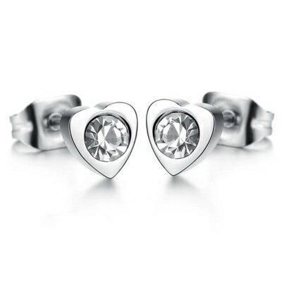 鈦鋼耳環鑲鑽耳飾-甜蜜愛戀心型設計七夕情人節禮物女飾品73cn16【獨家進口】【米蘭精品】