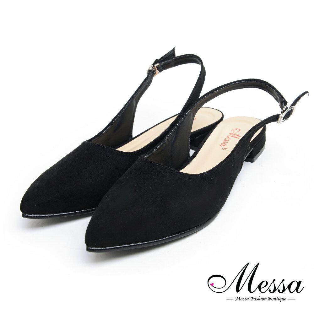 【Messa米莎專櫃女鞋】MIT質感絨面繞帶低跟尖頭鞋-黑色 - 限時優惠好康折扣