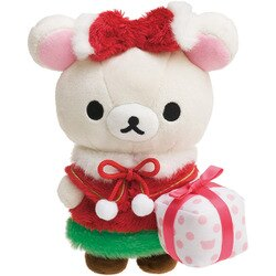 X射線【C697378】牛奶熊Korilakkuma 聖誕限定公仔,玩偶/娃娃/擺飾/絨毛/填充玩偶/玩具/公仔/椅子/抱枕/靠枕