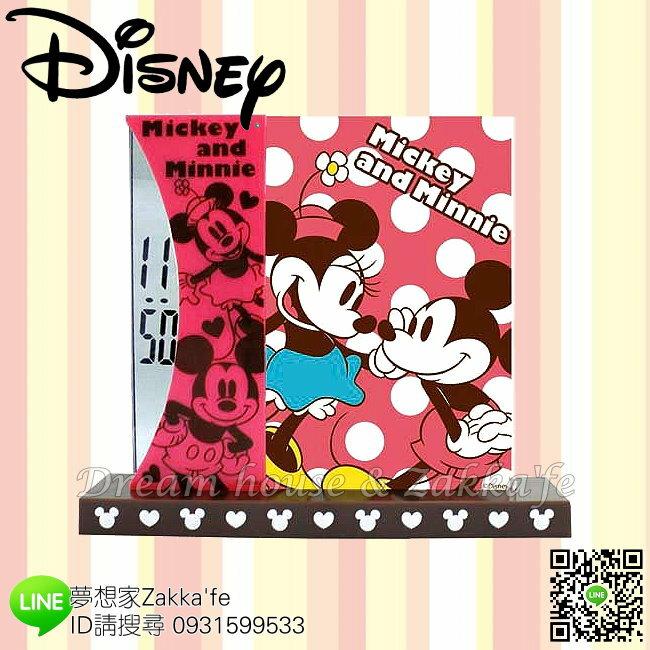 日本正版 Disney 迪士尼 米奇米妮 桌上型 兩用 時鐘/相框《 電子顯示超安靜 》★ 簡單時尚可愛 ★ 夢想家精品家飾