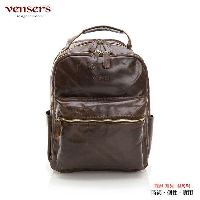 【Vensers】小牛皮潮流個性包~後背包(NE054602咖啡) 0