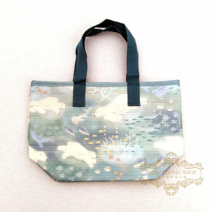 日本進口 (sea travel北極熊-藍) 保冷袋 保溫袋 便當袋 野餐 露營 手提袋