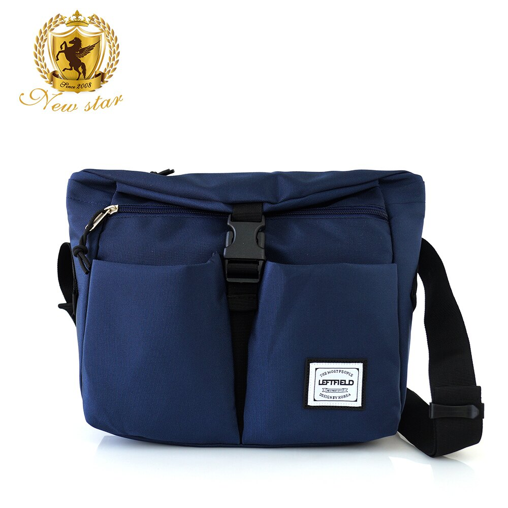 側背包 時尚簡約防水前扣雙口袋斜背包包 NEW STAR BL134 3