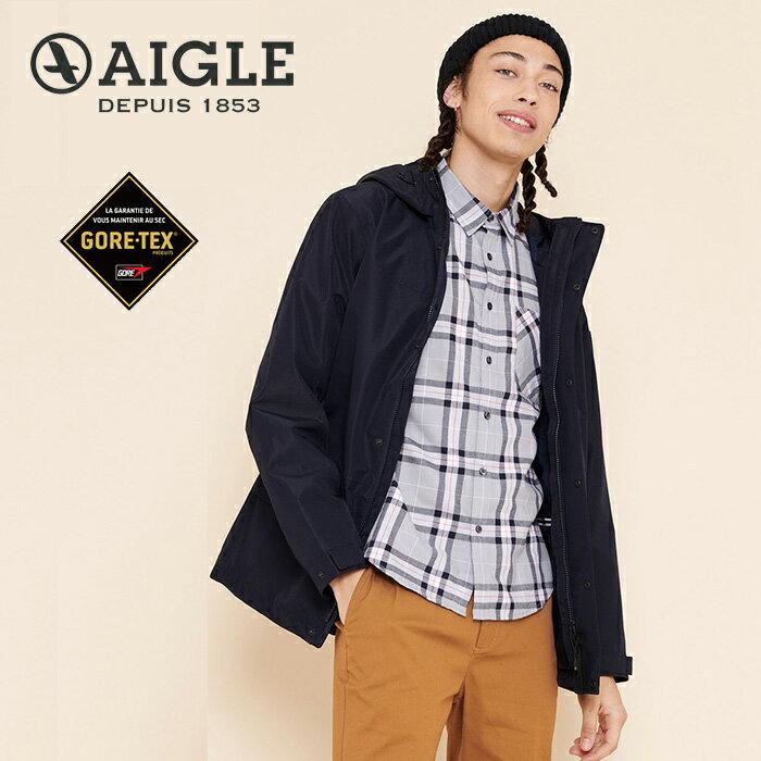 【AIGLE 法國】ACALIR GORE-TEX 防水外套 防水透氣外套 風衣 男款 深藍色 (AG-0A108-A057)