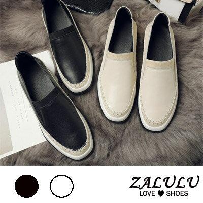 ZALULU愛鞋館 GB049預購款牛皮編織尖頭厚底包鞋-白/黑-35-39