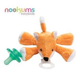 【淘氣寶寶】美國nookums寶寶可愛造型搖鈴安撫奶嘴玩偶-小狐狸【附贈母乳實感奶嘴,適用於90%以上奶嘴】