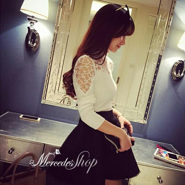 梅西蒂絲Mercedes Shop:《現貨出清5折》韓國小性感立體鉤花豎紋緊身顯瘦針織上衣-梅西蒂絲(現貨+預購)