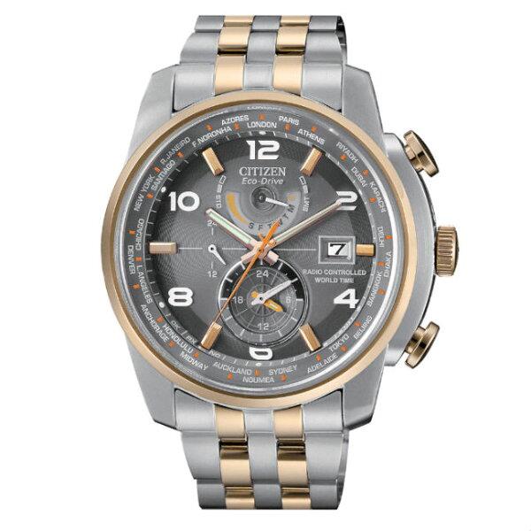 CITIZEN星辰錶AT9016-56H商務科技電波光動能腕錶灰面46mm