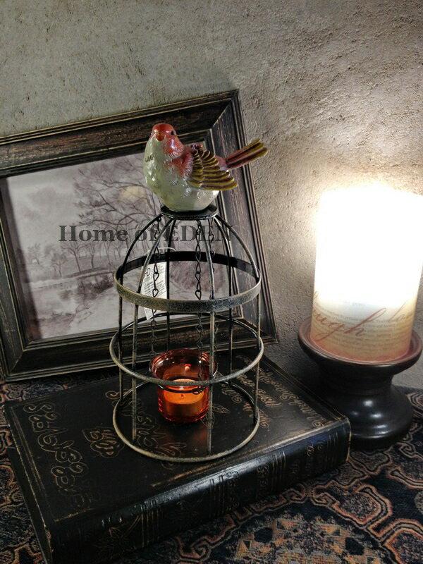 【EDEN】Vintage復古懷舊意大利鄉村小鳥做舊鐵藝鳥籠玻璃燭臺1入