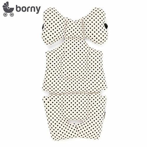 韓國【 Borny 】 全身包覆墊(推車、汽座、搖椅適用) (白底黑點)