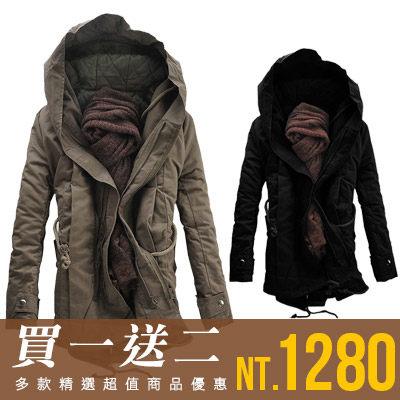 Free Shop【QTJMY07】買一送二(圍巾+上衣)韓版開叉後擺抽繩禦寒保暖連帽長版大衣軍裝外套‧二色 有大尺碼