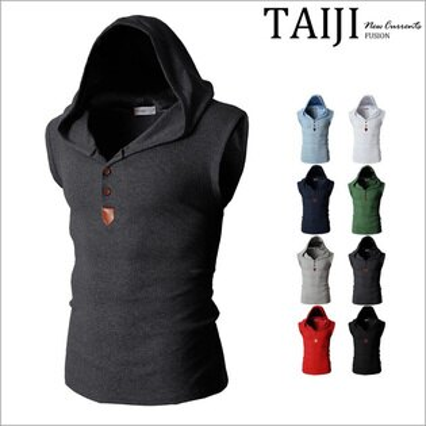 連帽無袖背心‧素色鈕釦皮標連帽無袖棉質背心‧八色【NTJ9181】-TAIJI-