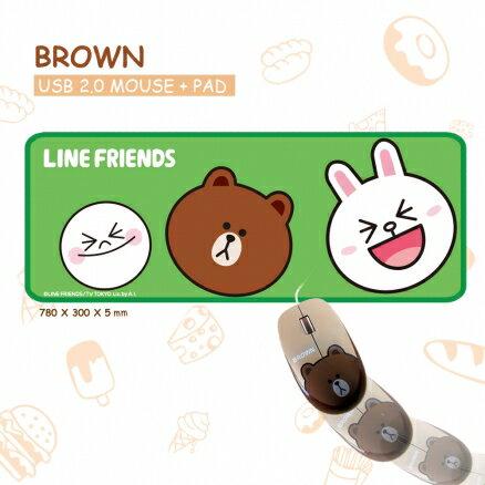 LineFriends熊大有線滑鼠+鼠墊【迪特軍】