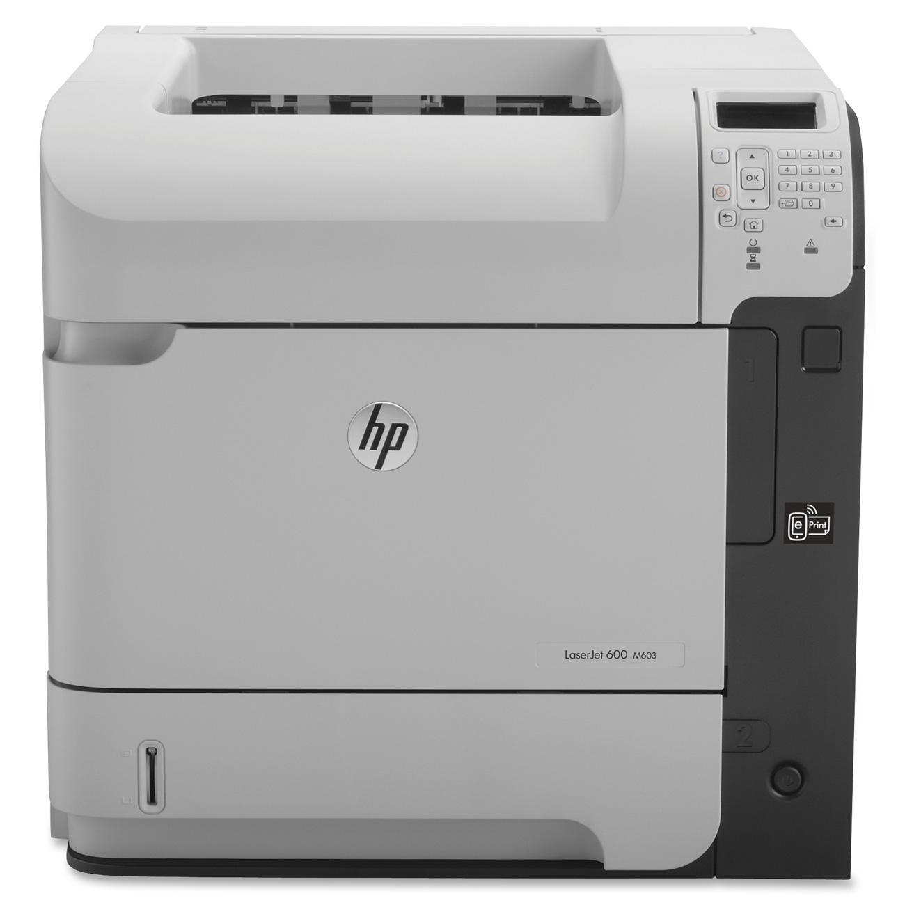 """HP LaserJet 600 M603N Laser Printer - Monochrome - 1200 x 1200 dpi Print - Plain Paper Print - Desktop - 62 ppm Mono Print - C6 Envelope, A4, A5, A6, B6 (JIS), B5 (JIS), 16K, Executive JIS, RA4, Letter, ... - 4.49"""", 8.27"""", 5.83"""", 4.13"""", 3.94"""", 8.50"""", ... 0"""