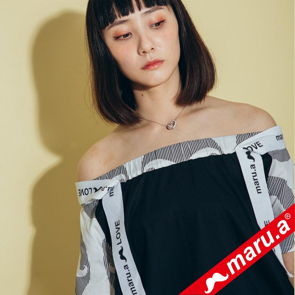 【maru.a】一字領超美織帶拼接上衣 8323117 2