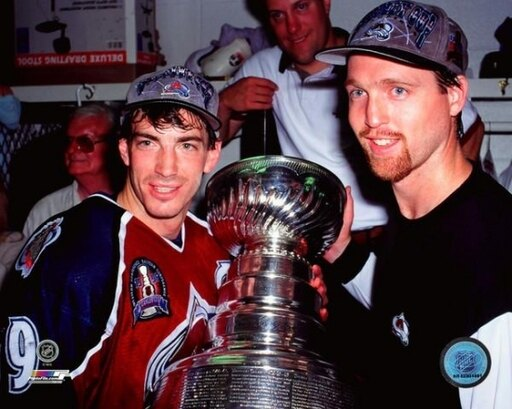 Joe Sakic & Patrick Roy with the Stanley Cup Championship Trophy Game 4 of the 1996 Stanley Cup Finals Photo Print (20 x 24) 774902c3fb1989953c5ecd0e4d2b3284