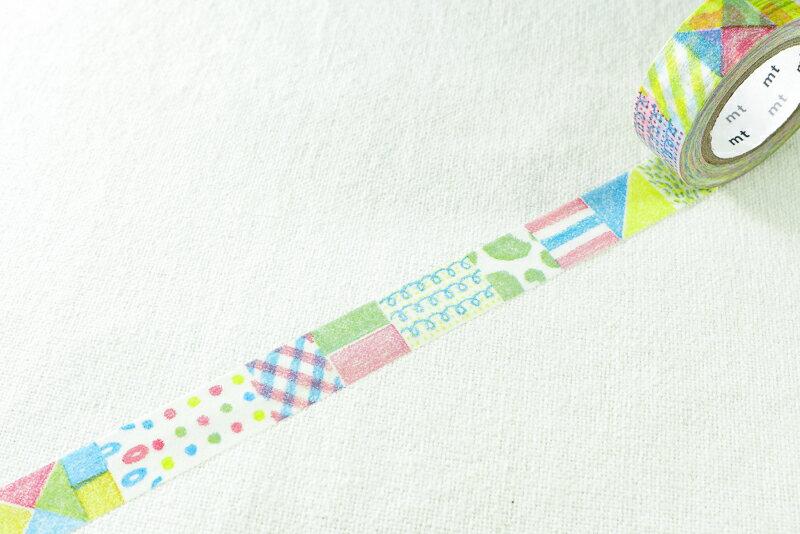 *小徑文化*日本和紙膠帶 mt_2013aw ex新柄 - 蠟筆塗鴉 ( MTEX1P80 )