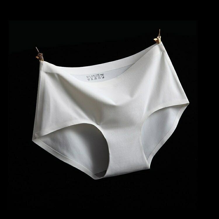 白 XL冰絲無痕中腰純色性感女仕內褲 中大尺碼 # 一片式