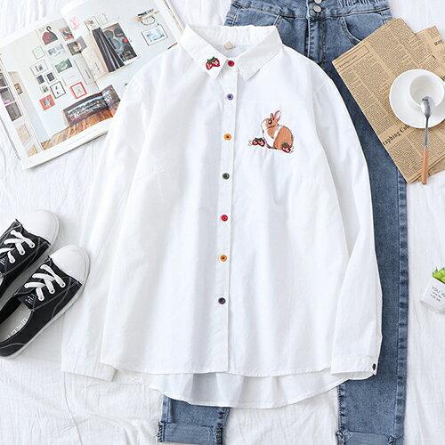 刺繡可愛兔子草莓棉質翻領長袖襯衫(2色S~L)【OREAD】 2