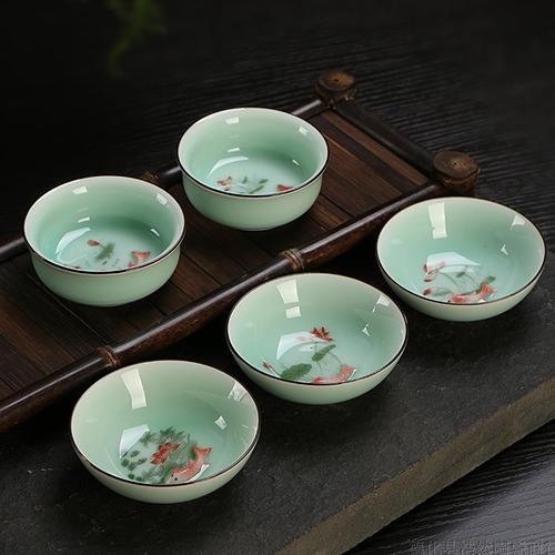 A1青瓷茶杯 品茗杯陶瓷功夫茶具配件茶盤魚杯套裝小茶碗單杯主人杯