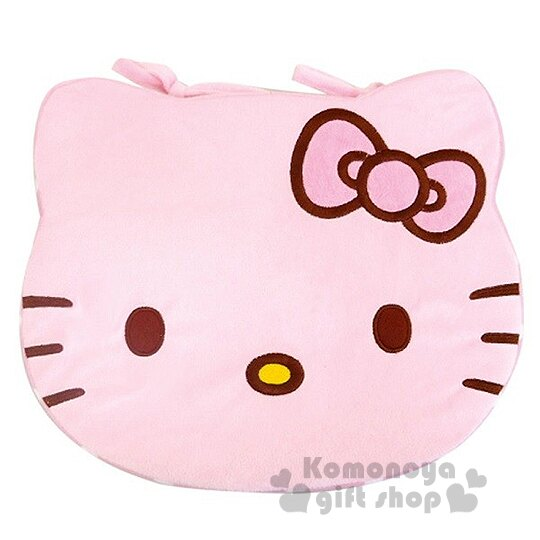 〔小禮堂〕Hello Kitty 造型坐墊《粉.大臉.點點》居家.車用