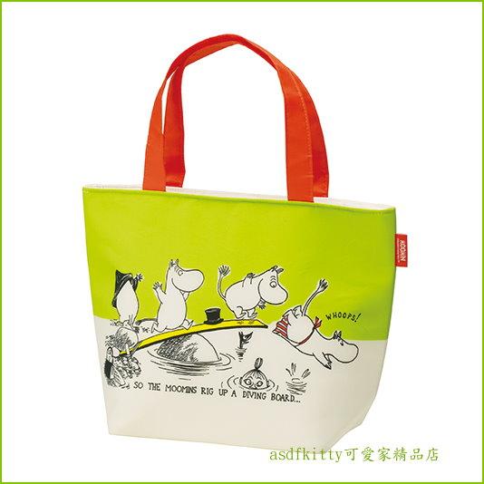 asdfkitty可愛家☆MOOMIN 嚕嚕米拉?水餃包輕量保溫便當袋/手提袋/購物袋-也可保冷-日本正版商品