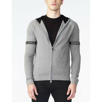 美國百分百【Armani Exchange】針織 外套 AX 連帽 棉質 針織衫 拉鏈 線衫 亞曼尼 灰色 XS S M L XL號 H704