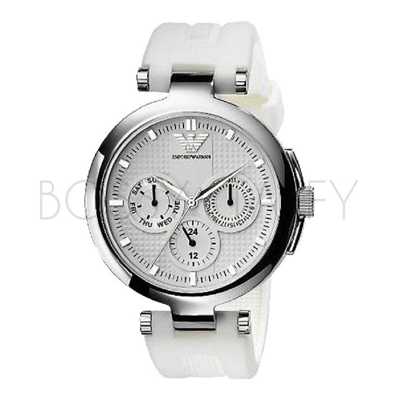 AR0736 ARMANI 亞曼尼 時尚大錶盤三眼白色石英錶
