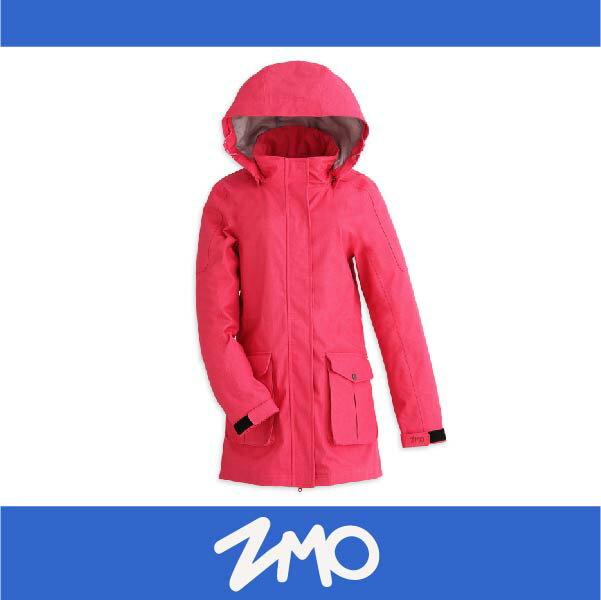 萬特戶外運動 ZMO JG360-DP 女防風雨風衣外套-長版大衣 防水 防風 粉色