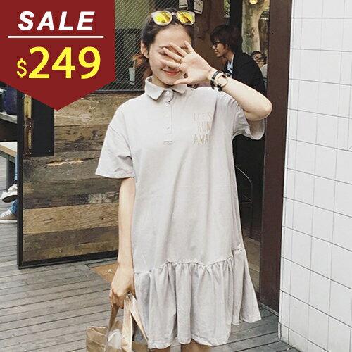連身裙 寬鬆線繡字母荷葉裙襬連身裙 小豬兒 MiNi Jule ~YCA61047204~