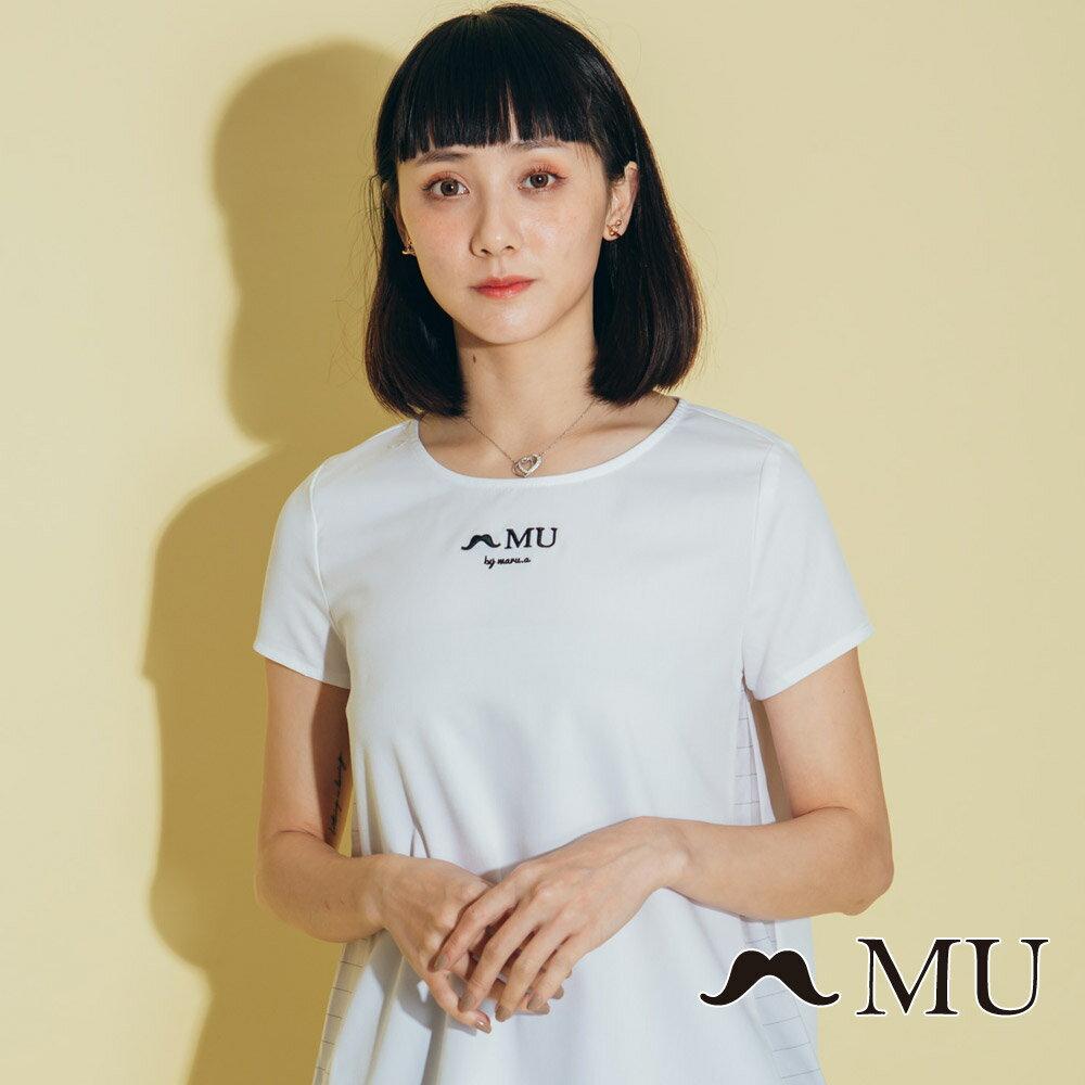 【MU】素面簡約LOGO條紋側拼接上衣(2色)7323168 1