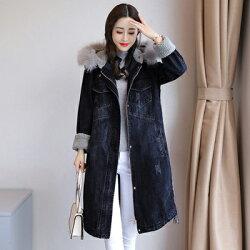 牛仔外套連帽夾克-冬季保暖羔羊毛中長版女單寧外套73tj1【獨家進口】【米蘭精品】
