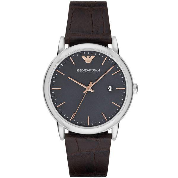 大高雄鐘錶城 EMPORIO ARMANI/ AR1996 經典義式簡約腕錶/ 灰黑面42mm