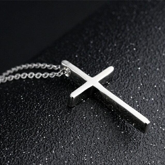 316L醫療鋼 十字架 鎖骨項鍊-銀 防抗過敏 不退色