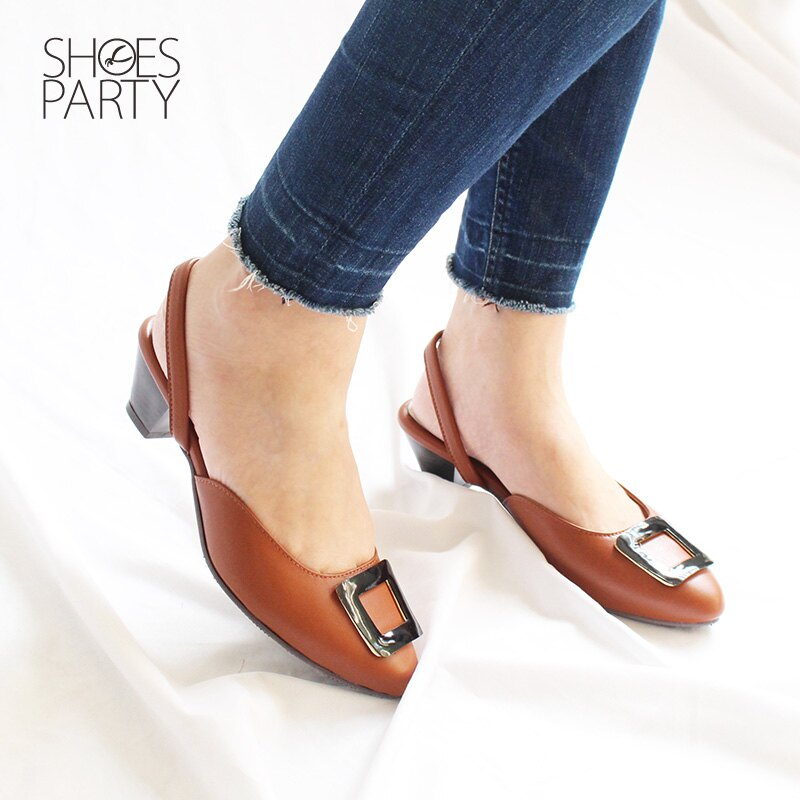 【S2-18526L】大方扣真皮中跟穆勒鞋_Shoes Party 1