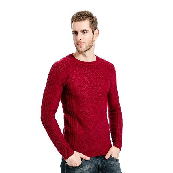 FINDSENSEZ1韓國時尚潮男菱格豎條紋圖案毛衣針織衫外套