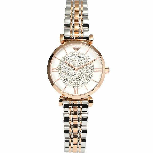EMPORIO ARMANI 亞曼尼 AR1926  名媛晶鑽錶盤女錶 / 白面 32mm