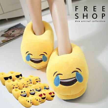 Free Shop 情侶款 韓版中性親子款可愛個性表情符號毛絨材質保暖居家室內拖鞋 童男女鞋【QPPDA8109】