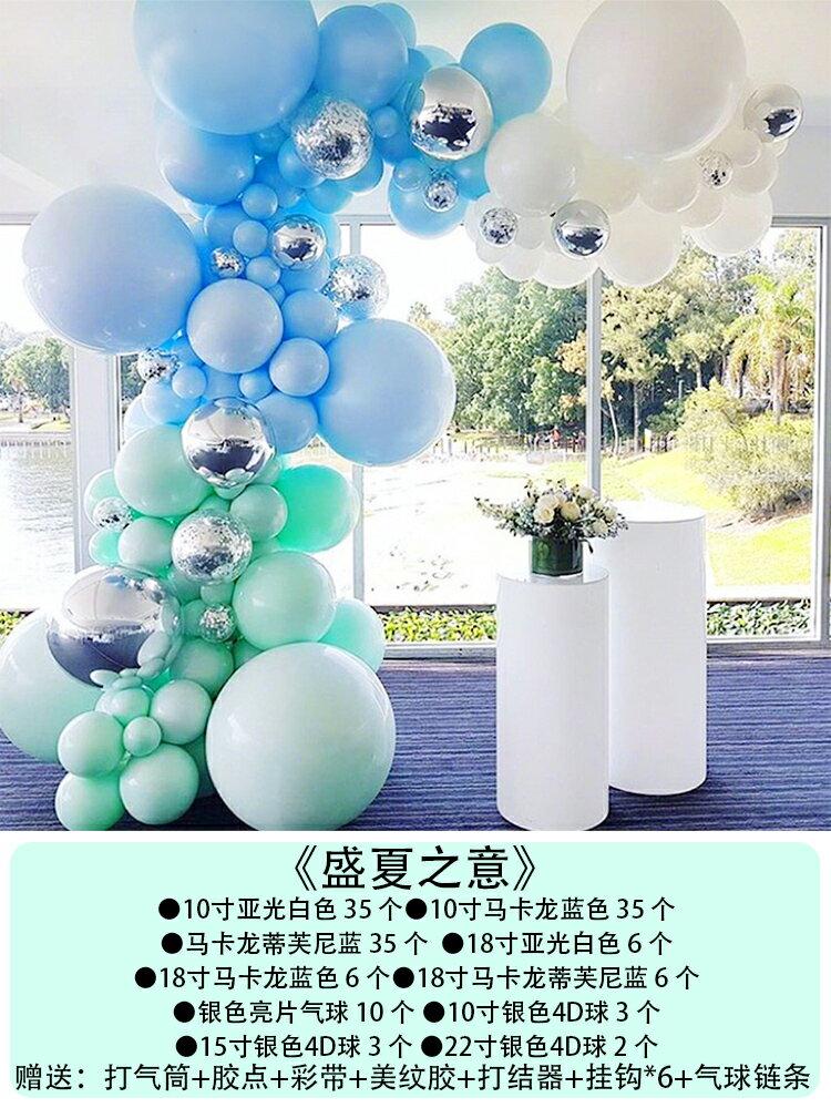 氣球拱門 馬卡龍氣球鍊開業拱門小紅書生日宴會畢業背景牆創意裝飾布置套餐【MJ3739】