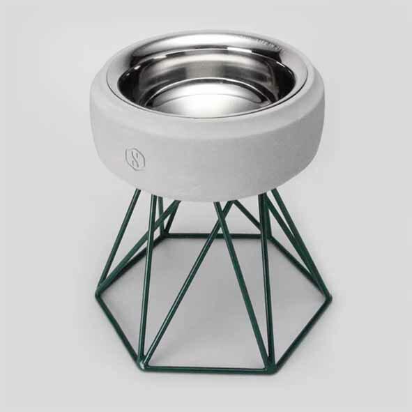 SPUTNIK 寵物碗架 Cozy Cement Bowl - 白水泥+綠架(M2) Pet's Talk 2