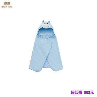 *美馨兒* 奇哥- 吸濕速乾造型浴袍巾-藍色小牛 863元