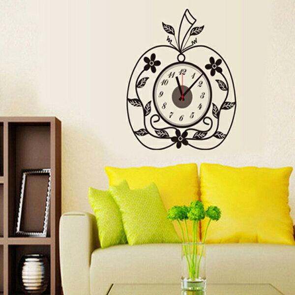 BO雜貨【YV0010】時鐘壁貼 創意蘋果形狀 教室裝潢佈置 牆貼壁紙貼紙