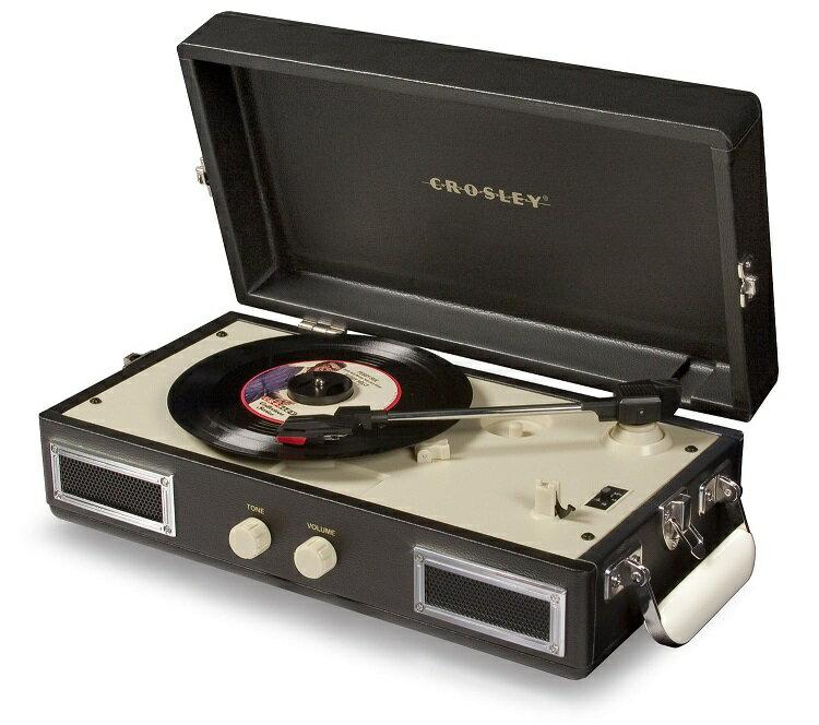 ::bonJOIE 預購:: Crosley Mini Turntable 黑色款 迷你手提箱黑膠播放機 (全新盒裝) 可攜式 攜帶型 唱盤 播放器材 音響 音箱