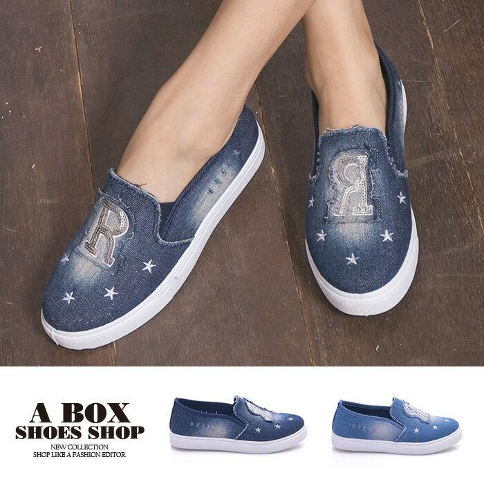 格子舖*【AS1636】基本款百搭英文字母星星 刷白破壞牛仔帆布懶人鞋 布面/帆布鞋 2色 1