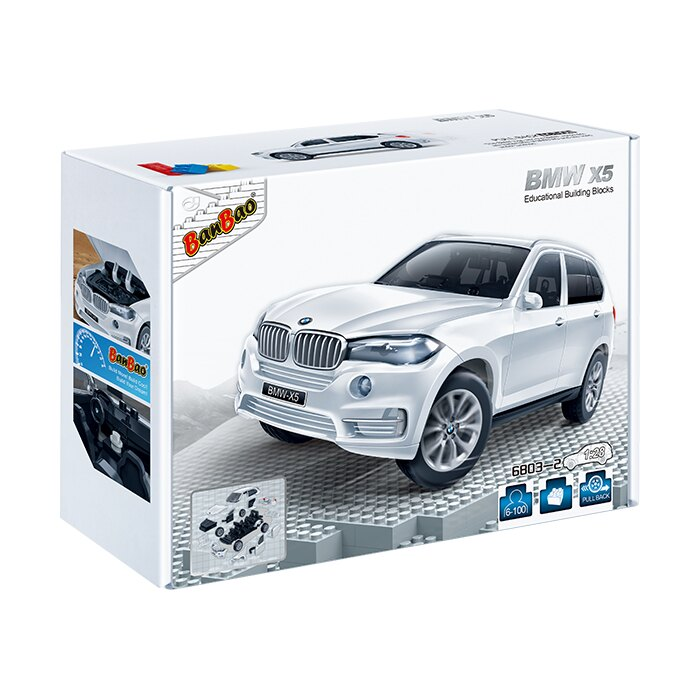 【BanBao 積木】寶馬系列-BMW x5白 回力車 6803-2  (樂高通用) (單筆訂單購買再加送積木拆解器一個)