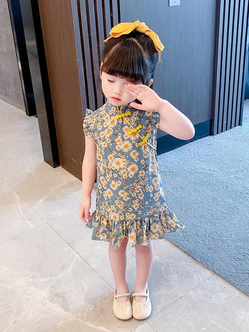 女童旗袍夏裝2021新款童裝女孩中國風連衣裙洋氣唐裝碎花裙