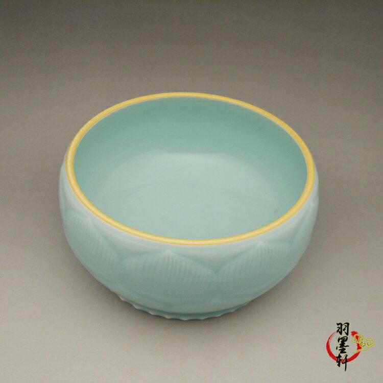 清乾隆 天青釉雕刻蓮花水淺筆洗 手工精品古玩古董陶瓷仿古瓷收藏