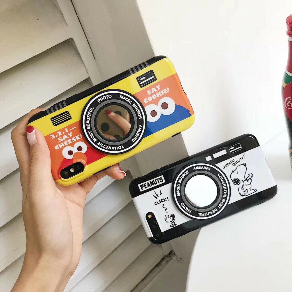 相機造型 亮面 史奴比/elmo 蘋果 iPhone6/i6p/i7/7p/i8/8p/iphone X 全包邊手機殼