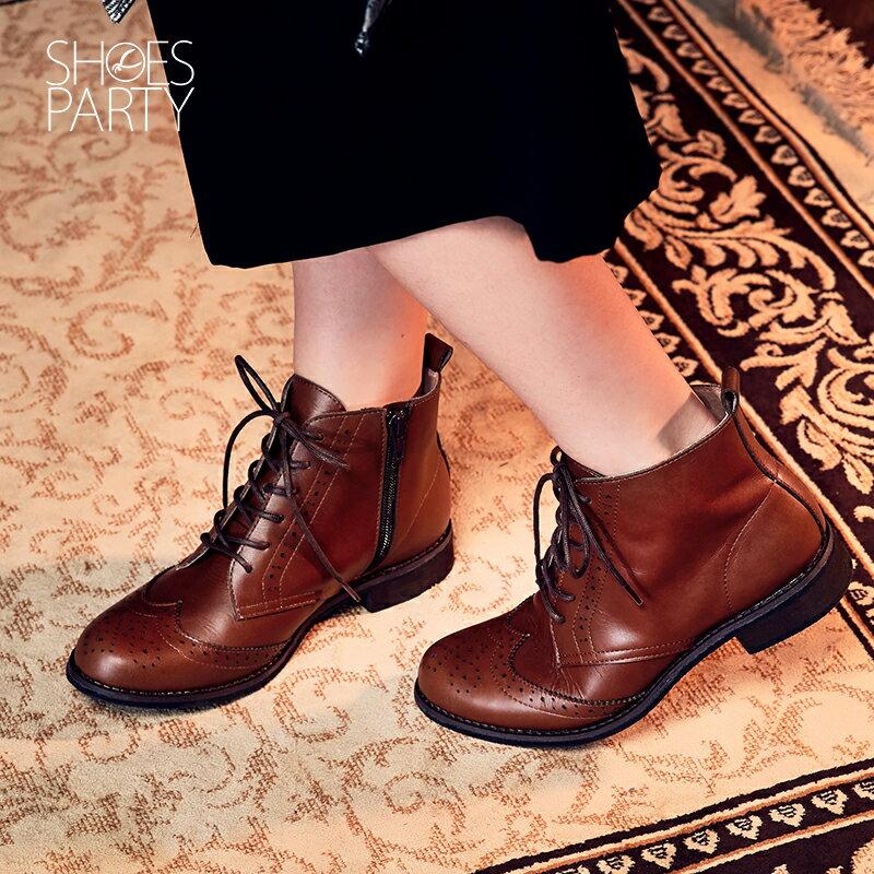 【B2-16819L】真皮綁帶牛津短筒靴_Shoes Party 4